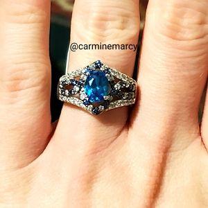 Tanzanite, apatite & diamond ring